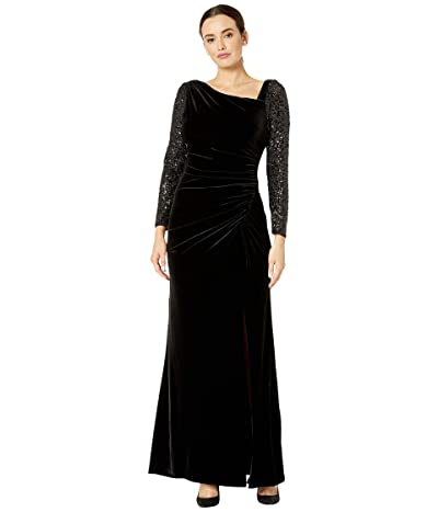 Adrianna Papell Velvet and Sequin Gown (Black) Women