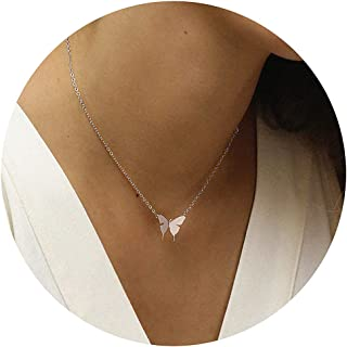 Gold Dainty Butterfly Necklace,18K Gold/Silver/Rose Gold Plated Tiny Butterfly Charm Necklace Heart Shaped Moon Layered Cubic Zirconia Arrow Charm Necklace for Women