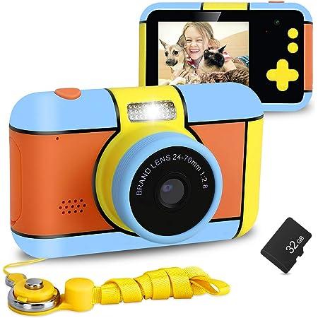 XDDIAS Macchina Fotografica per Bambini, Fotocamera Digitale con Scheda SD da 32 GB, 2.4 Pollici LCD Giocattolo Videocamera Bambini Portatile per Ragazze Regalo di Compleanno (Arancia)