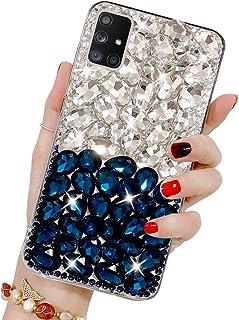 Bling Glitzer Hülle für Galaxy A71, Misstars 3D Diamant Strass Handyhülle Transparent Hart PC Rückschale mit Silikon TPU Rahmen Schutzhülle für Samsung Galaxy A71, Silber+Blau