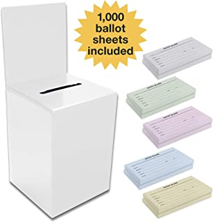 Large Ballot Box/Charity Box/Suggestion Box/Includes 1000 Entry Sheets/Use for raffles, Lead Generation, Collecting Business Cards, Voting, contests, suggestions (White)