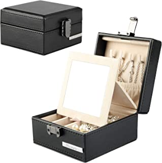 Homde Travel Jewelry Organizer Small Box with Mirror for Necklace Earrings Rings Gift for Men Women Black