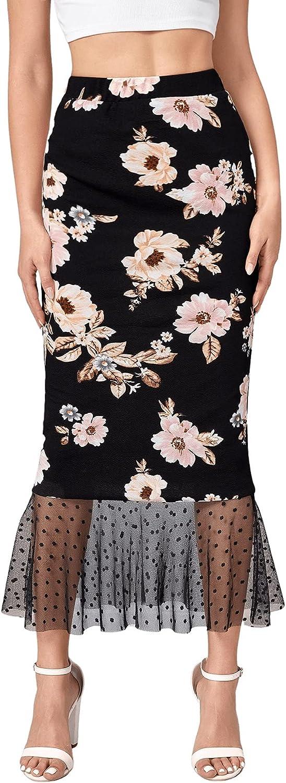 Milumia Women's Elegant Floral Print Polka Dots Mesh Ruffle Hem Long Mermaid Skirt
