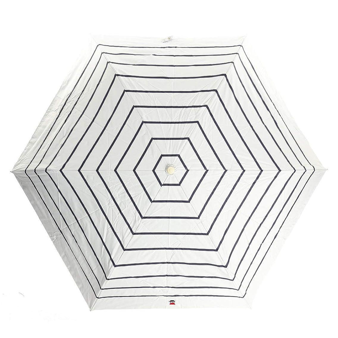 ハイランド批判理論[ピッコーネ アッチェッソーリ] 晴雨兼用 日傘 雨傘 コンパクト折りたたみ傘 外袋付き ボーダー柄 シルバーグレー