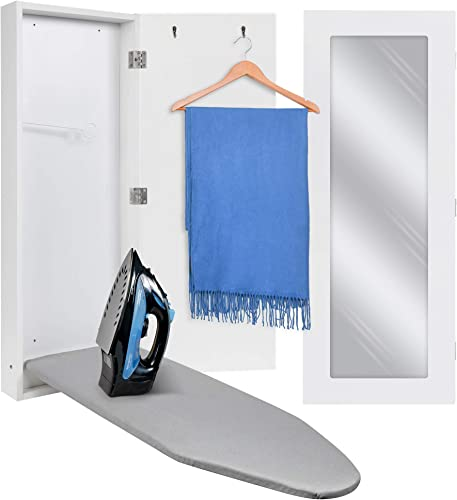 discount Ivation Wall-Mounted Ironing Board 2021 Cabinet, Foldable Ironing outlet sale Storage Station for Home, Apartment & Small Spaces, Easy-Release Lever, with Miror Door, White outlet sale