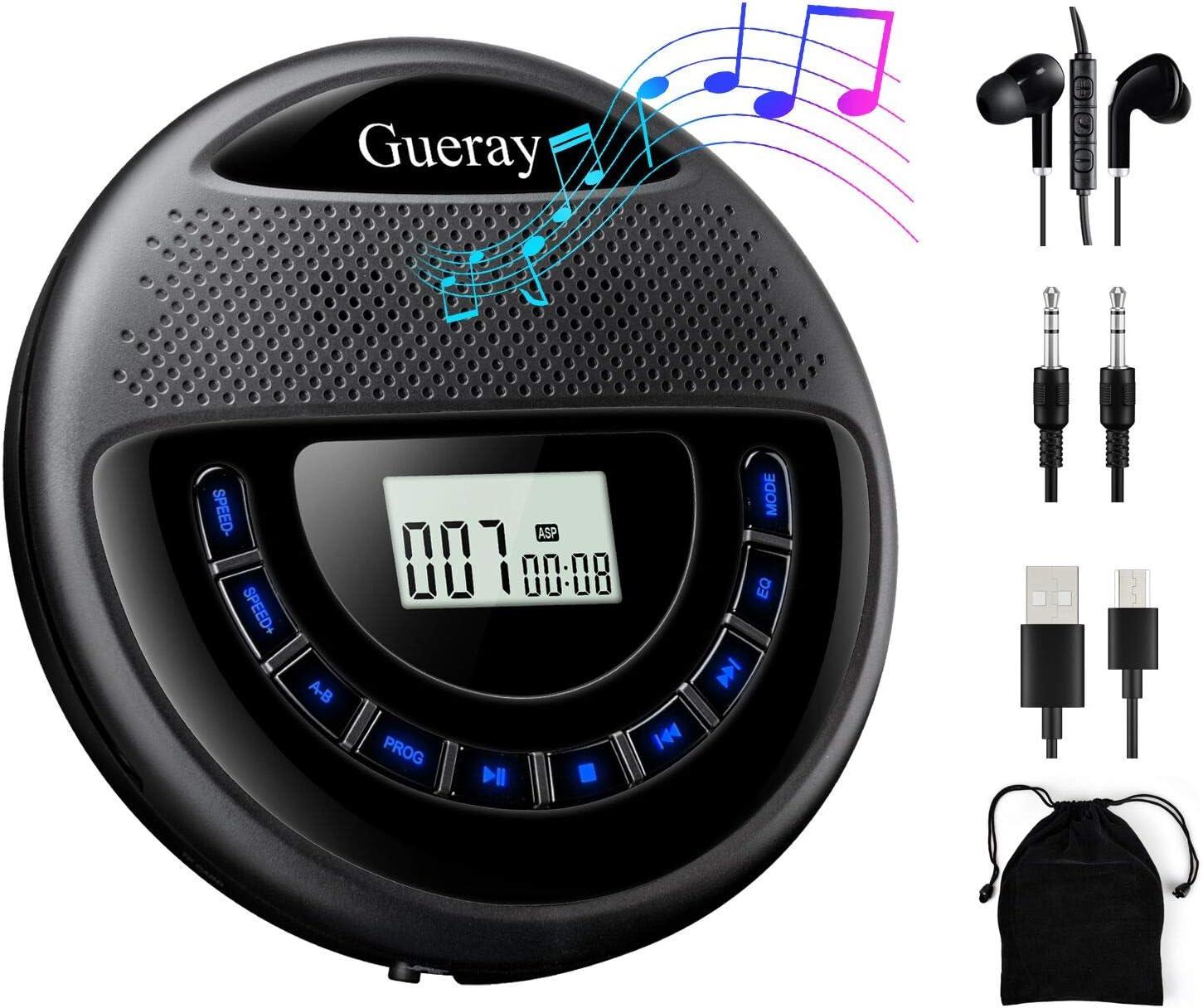 Gueray Reproductor de CD Portátil con Estéreo Altavoz y batería de Litio de 1400 mAh Incorporada y Auricular Apoyo para Reproducción de Tarjeta TF