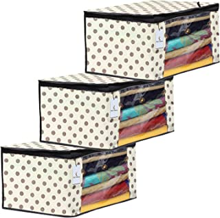 Kuber Industries Polka Dot Design 3 Piece Non Woven Fabric Saree Cover Set with Transparent Window, Extra Large, Ivory-CTK...