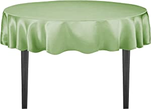 LinenTablecloth Round Satin Tablecloth, 90-Inch, Reseda