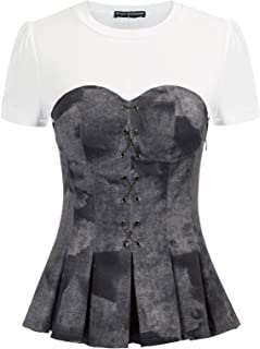 SCARLET DARKNESS Womens Shirt Vintage Retro Cross Front Short Sleeve Peplum Tops