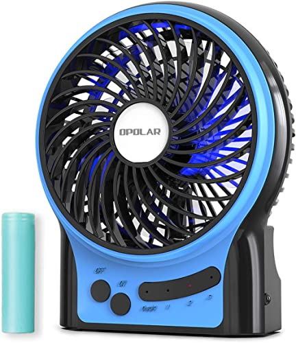 OPOLAR Rechargeable Portable Fan, 2200mAh Battery Operated or USB Powered Fan, Handheld Fan with Internal and Side LE...