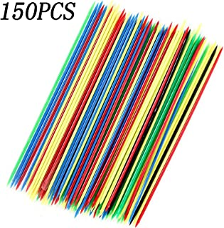 150PCS Plastic Mini Colorful Thin Pick Up Sticks for Fun Family Parent-Child Games 6.3Inch Long