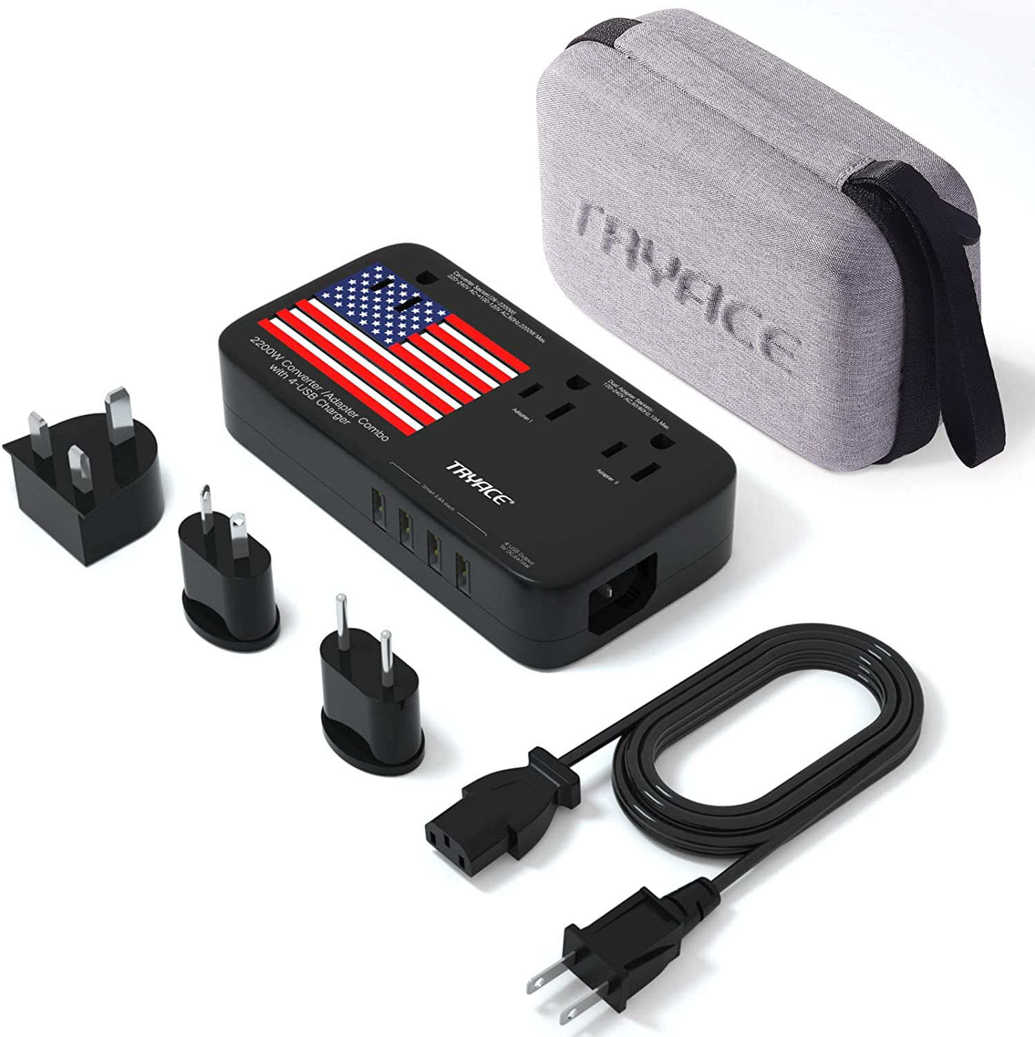TRYACE 2200W Travel Voltage Converter Adapter 4-Po Dual with Max 77% OFF Rapid rise 10A