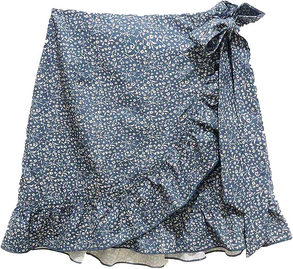 NP Skirts Womens Summer Casual High Waist Floral Print Ruffled Beach Zipper Short