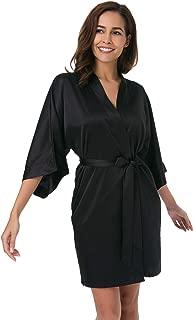 Women's Satin Robe,Silky Kimono Bathrobe for Bride Bridesmaids,Wedding Party Loungewear Short XS-XXL