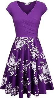 purple printed bridesmaid dresses