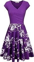 KASCLINO Women's Floral Printed Dress, A Line Cap Sleeve V-Neck Elegant Dress with Pockets Cocktail Party Dress