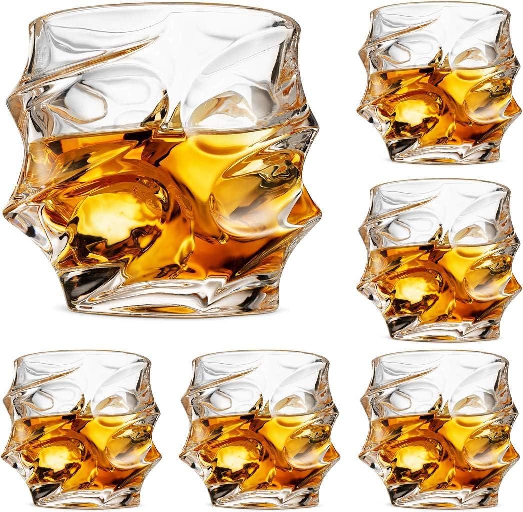 Premium Nashville-Davidson Mall Crystal Whiskey Glasses Set Branded goods Lead-Free 6 of Large Crysta