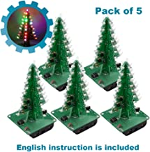 IS ICStation DIY 3D Xmas Tree Soldering Practice Electronic Science Assemble Kit 7 Color Flashing LED PCB Solder Tool (Pack of 5)