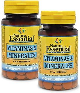 Vitaminas & minerales. 60 comprimidos con fibra. Hierro. Yodo. vitaminas A. C. D. E. B-1. B-2. B-3. B-5. B-6. B-9 y B-12. (Pack 2 unid.)