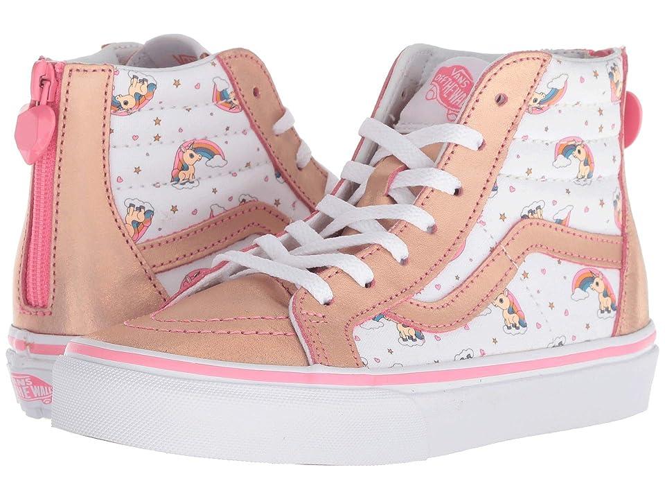 Vans Kids Sk8-Hi Zip (Little Kid/Big Kid) ((Unicorn Rainbow) Pink Lemonade/True White) Girls Shoes