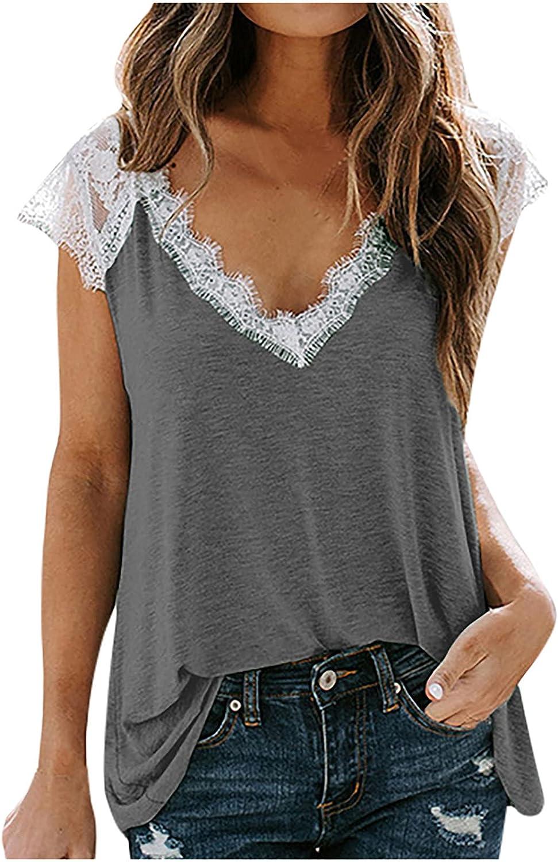 Pisexur Plus Size Tops for Women,Plain Tank Lace V Neck T Shirt Sleeveless Loose Tunnic Summer Vintage Vest