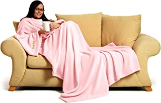 Snug Rug Pink Quartz Deluxe Blanket with Sleeves Genuine Snugrug Sleeved Blankets   260Gsm Cosy Super Soft Coral Fleece So...