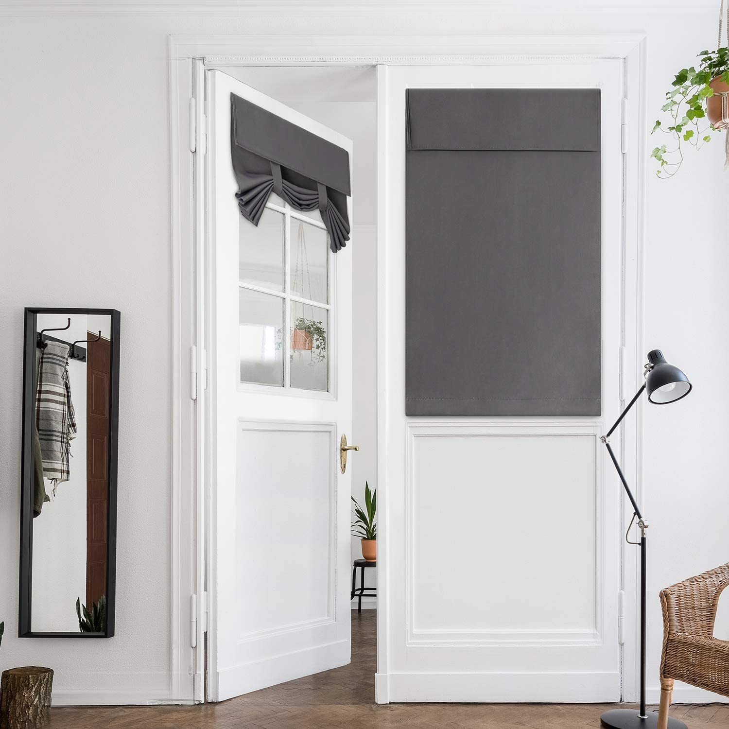 HOMEIDEAS Grey French Door Curtains New product!! sold out Privacy Gray C Blackout