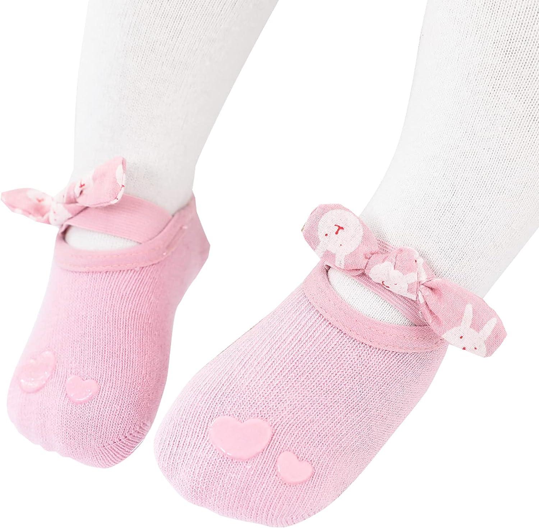 Baby Non Slip Floor Slipper Socks with Bow for Girls Newborn Infants Toddlers Kids Ruffles Princess