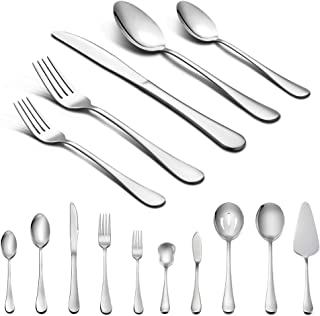 LIANYU 45-Piece Silverware Set with Serving Pieces, Stainless Steel Cutlery Flatware Set Service for 8, Mirror Finish, Dis...
