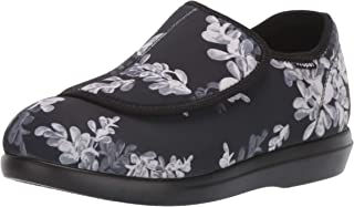 Propet Women's Cush 'N Foot Slipper, Black Floral, 6.5 Narrow