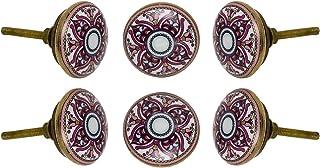 Set of 6 Ceramic Cairo Drawer Knobs Kitchen Cabinet Dresser Pull