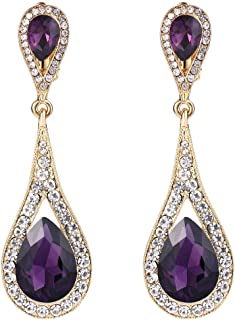 Women's Austrian Crystal Elegant Dual Tear Drop Clip-on Dangle Earrings