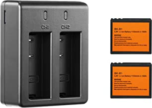 2 x 1100mAh Rechargeable Action Camera Battery with Micro USB Dual Battery Charger for OnReal 4K Action Camera