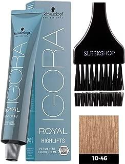 Schwarzkopf IGORA Royal HIGHLIFTS Permanent Hair Color Creme (with Sleek Tint Applicator Brush) Haircolor Cream (10-46 Ultra Blonde Beige Chocolate)
