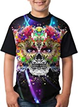 BIAN-64 Youth Hand Drawn Indian Skull Casual 3D Pattern Printed Short Sleeve T-Shirts Top Tees