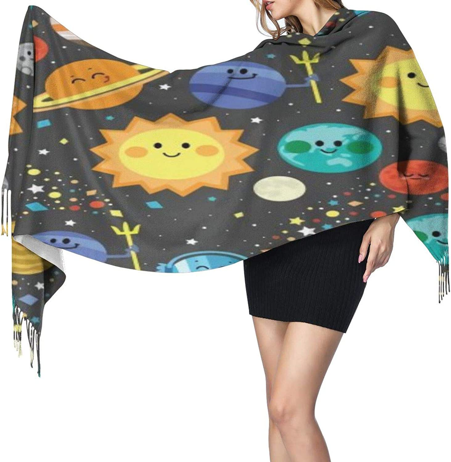 Cashmere fringed scarf solar system winter extra large scarf
