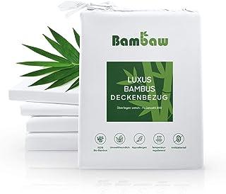Bambaw Deckenbezug aus Bambus Bettwäsche Bambus | Allergiker Deckenbezug | Atmungsaktive bettwäsche | Anti Milben Deckenbezug | Weiß | 240x220