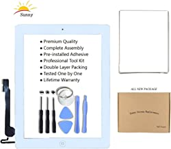 iPad 4 Model A1458 A1459 A1460 Screen Replacement Digitizer Glass Assembly(White) - Includes Adhesive Stickers Bezel Frame and Professional Tool Kit