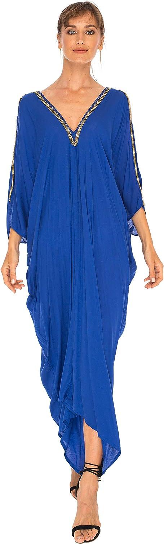 SHUSHI Womens Kaftan Cover Up Long Dress Cold Shoulder gold Beads V Neck