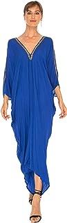 SHU-SHI Womens Kaftan Cover up Long Black Dress Cold Shoulder Gold Beads V Neck