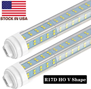 LED Light Tube 8FT, R17D/HO 8FT LED Bulbs - Rotate V Shaped, 6000K Cool White 120W, 12500LM, 110W Equivalent F96T12/DW/HO, Clear Cover, T8/T10/T12 Replacement, Dual-End Powered, Ballast Bypass, 8 PCS