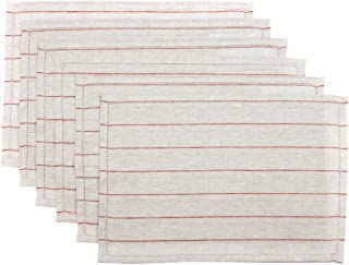 VHC Brands Harvest & Thanksgiving Farmhouse Tabletop & Kitchen - Charley Tan Placemat Set of 6, Rust