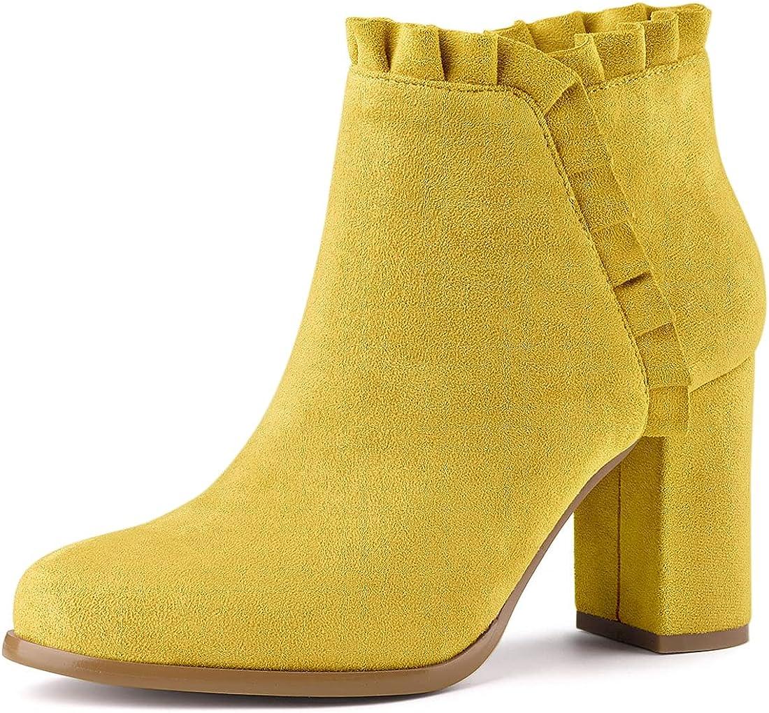 Allegra K Women's Ruffle Block Arlington Mall Heel Dedication Boots Ankle