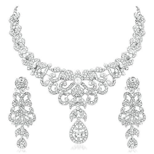 c61e61d60ef APARA Silver Zinc Dazzling Alloy Rhodium Necklace Set with Austrian Diamond  for Women