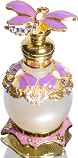 Waltz&F Purple Dragonfly Capped Jeweled Vintage Perfume Bottle Empty Refillable Essential Oil Bottle 15ml