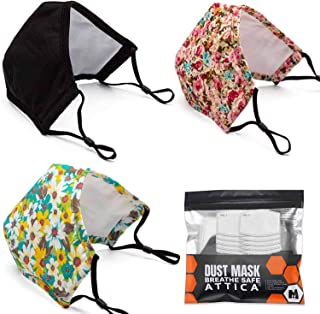 ATTICA 3Pack Adult Cotton Dust Face Mask Washable and Reusable With Filter Adjustable Elastic Ear Loop Breathable and Comf...