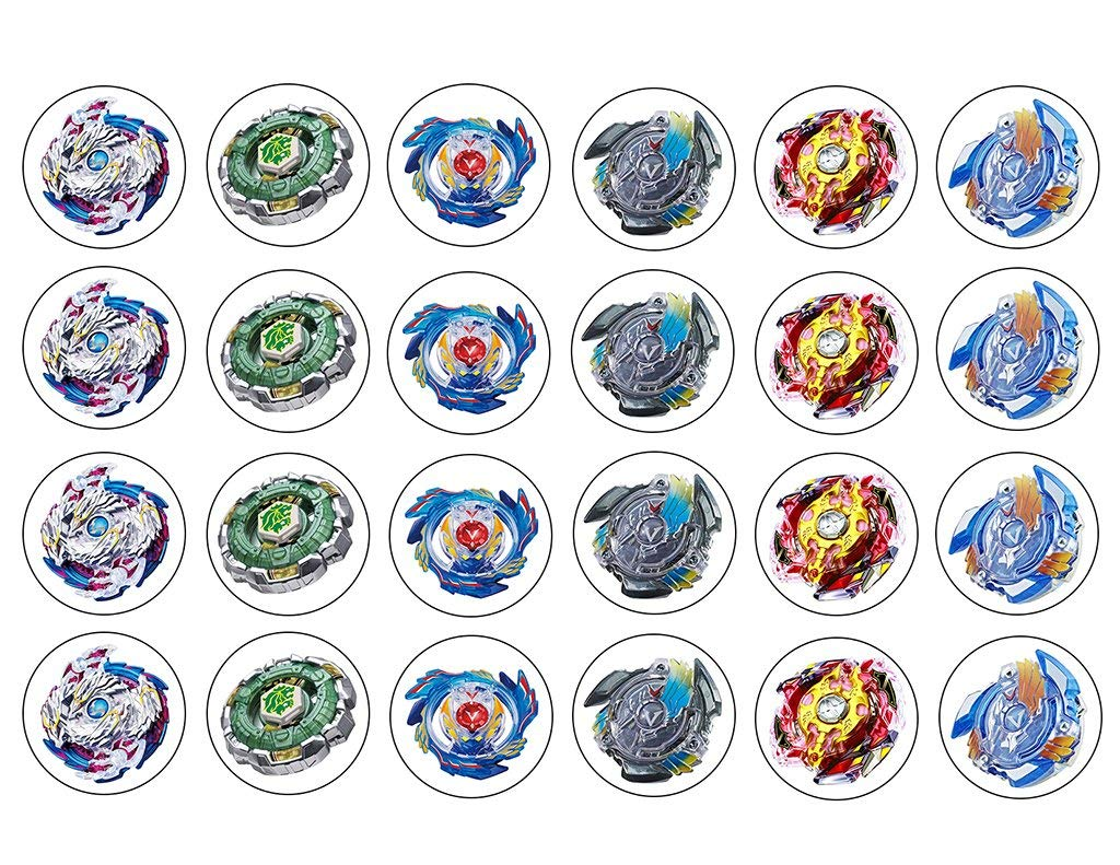 Amazon Com Beyblade Two Dozen Cupcake Topper Edible Frosting Image Grocery Gourmet Food