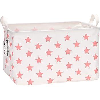 Sea Team 16.5 x 11.8 x 9.8 inches Square Canvas Fabric Storage Bins Shelves Storage Baskets Organizers for Nursery & Kid's Room, Pink Star