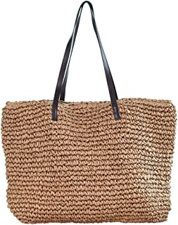 Sornean Large Knitted Straw Bag 100% Handmade Summer Beach Tote Bag Top Magnet Clasp Shoulder Bag