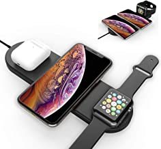 Nuoshawan 3 in 1 Qi Wireless Charging Pad Fast Charger Compatible iPhone X XS MAX XR 8 8 Plus, Samsung S8 S7 Edge S6 Edge+ Note 8, Nexus 5/6/7 iWatch Apple Watch Series 1 2 3 4